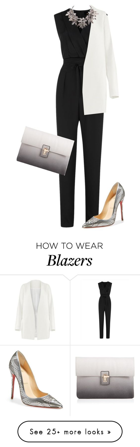 """""""Untitled #1450"""" by little-wrecked-soul on Polyvore featuring Jaeger, Lipsy, Non and Christian Louboutin"""