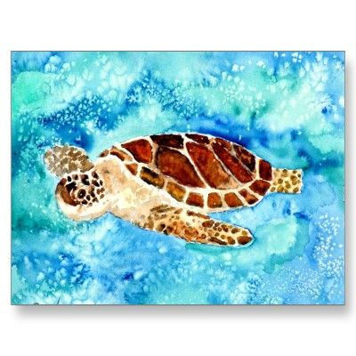 This sea turtle on the water-colour seems very kind... It smiles!