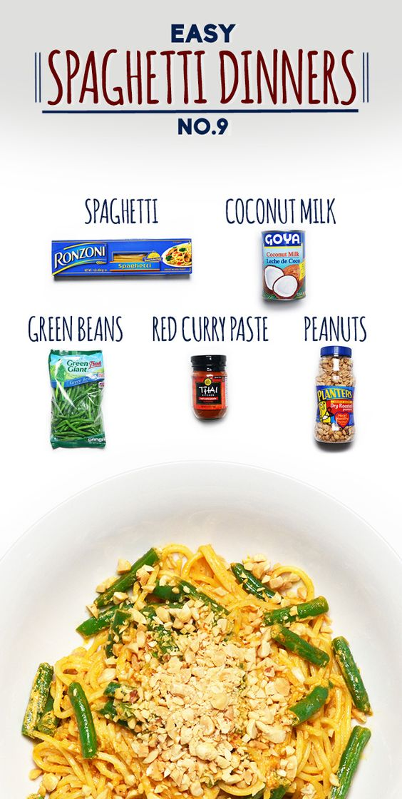 Spaghetti with Red Curry, Green Beans and Peanuts | 19 Fun And Easy Spaghetti Dinners