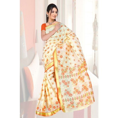 Gadwal sitara border with foil print - 451