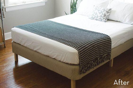 How to turn box springs into a modern diy platform bed for Diy modern platform bed