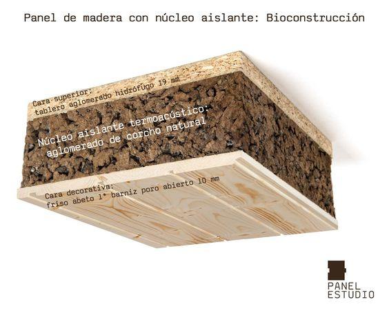 Bioconstrucci n y corcho natural panel de madera con for Aislante para tejados