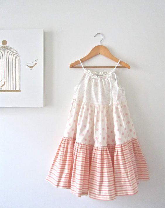 Toddler Girls Summer Dress-ruffled pink white cream-baby cottage beach shabby chic sundress-Children Clothing by Chasing Mini-Ready to Ship via Etsy
