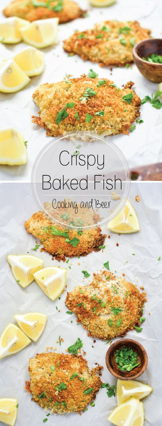 Crispy baked fish recipe baked fish fish and dishes for Healthy fish dinner recipes