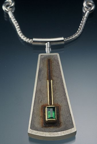 Velia Pendant | Tom McCarthy ~ sterling, concrete, steel, 22K gold, emerald