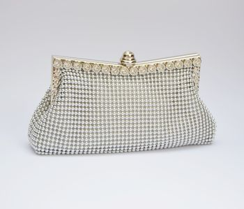 Vintage Style Silver Beaded Clutch Bag / Purse