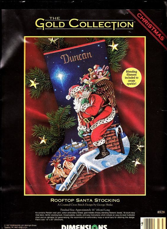 Dimensions Gold ROOFTOP SANTA Christmas Stocking Counted Cross Stitch Kit ~ Rare Collectable Heirloom Kit