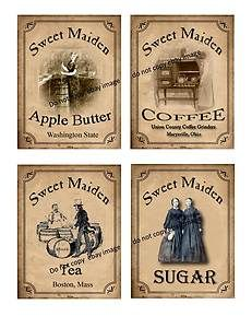 Free Primitive Pantry Labels | Primitive Jar Pantry Labels FH346 Set of 4 Labels Jars Boxes Bags Etc ...