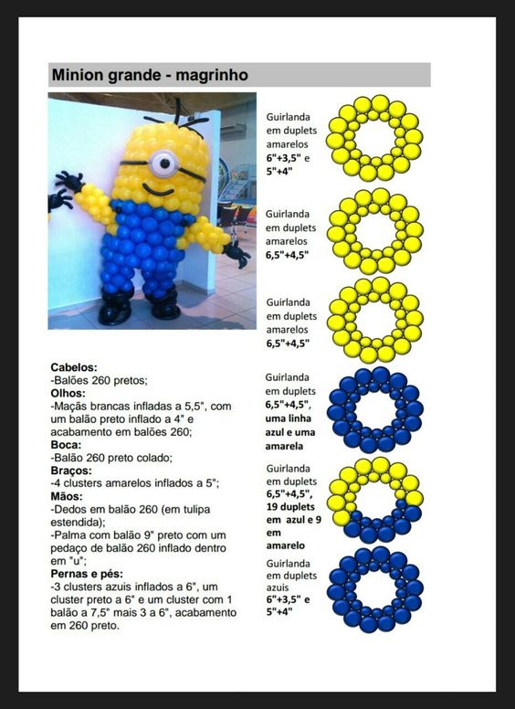 Minion balloon sculpture with step by step instructions for Balloon decoration guide