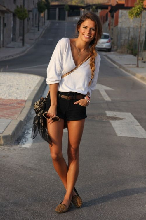 Loose white top, Shorts, Summer casual