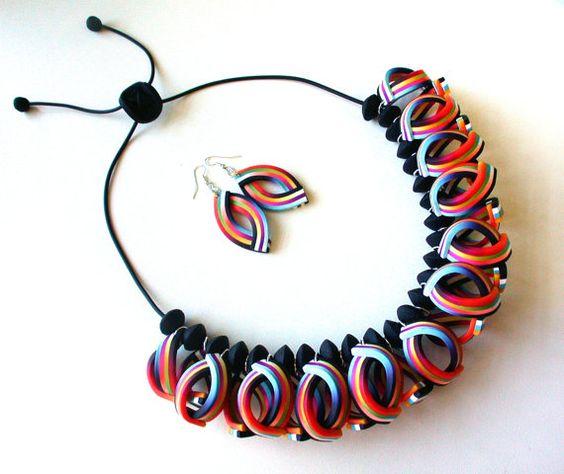 Polymer Clay Halskette und Ohrringe Samba.