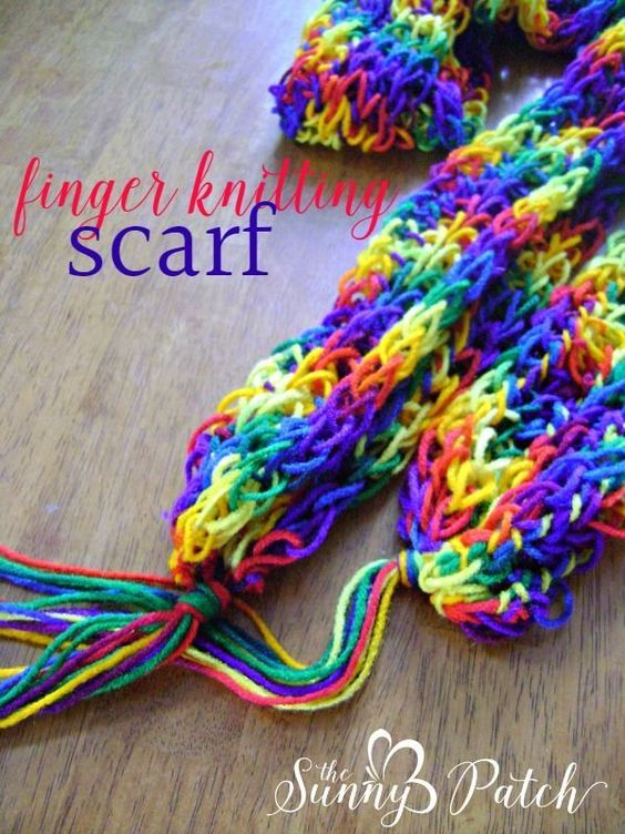Finger Knitting For Kids : Knitting scarves finger and on pinterest