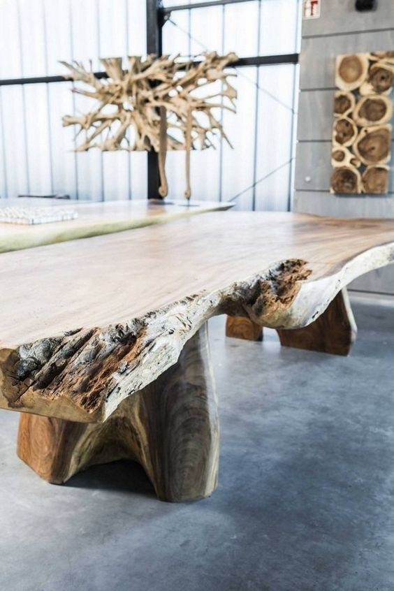 realwood furniture natural tropical wood exotic romantic massive dining  table