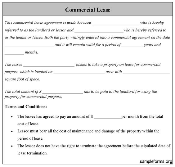 Commercial Lease Form, Sample Commercial Lease Form Sample Forms - rent agreement form