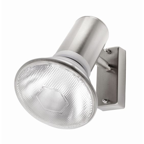 Silver round exterior wall light
