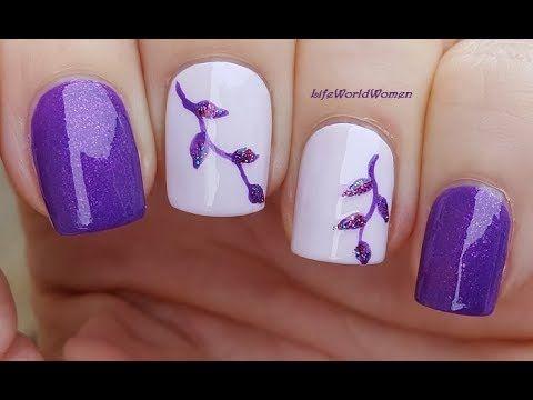 Elegant Purple Leaf Nails Striping Brush Nail Art Youtube Nails Nail Art Tutorial Nail Art Designs