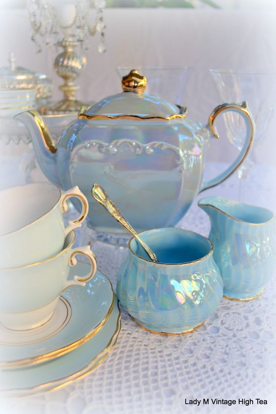Sadler blue lustre teapot with gold edging, w/ non matching creamer, sugar, cups and saucers, c. 1930s-1960s, ceramic, UK                                                                                                                                                      More