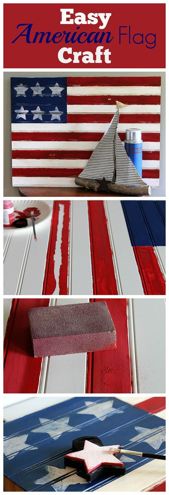 This American flag craft project is super cute and EASY to make . A quick patriotic DIY project for your 4th of July home decor. Did I mention it is easy?