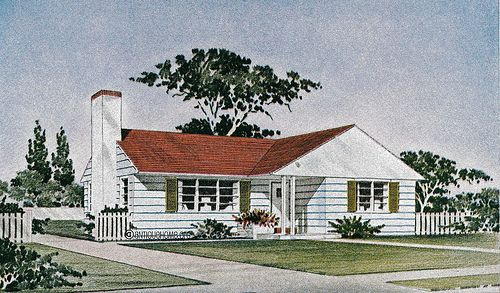 Gray stone ranch style house from the 1950s the revere for Ranch style home kits