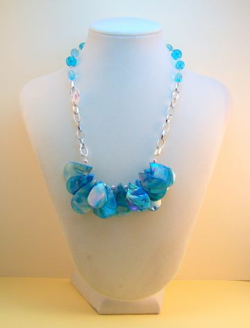 Turquoise Teardrop Shell Beads Necklace by SpiritReflections for $35.00