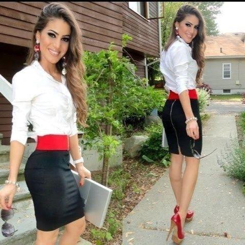 Belt, Black pencil and Red high heels on Pinterest