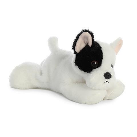 8 Aurora Plush White And Black Bulldog Puppy Dog Mini Flopsie