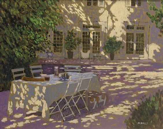 Mike Hall. Lunch table in dappled light: