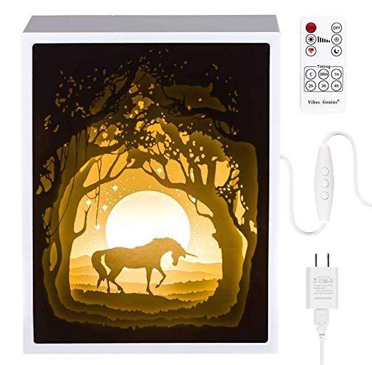 Papercut Light Boxes Night Light Lamp Of Creative Light Paintings Fairy Butterfly Unicorn Night Light Lamp 3d Shadow Box Night Light