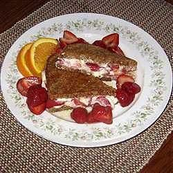 Special Strawberries and Cheese Breakfast Sandwich