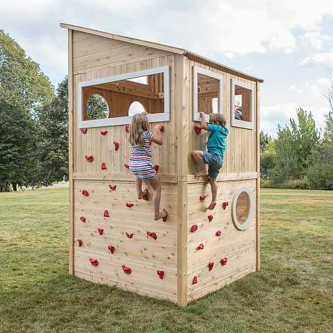 We Designed Our Outdoor Wooden Playhouses With Spaces And Accessories To Foster Both Physical And Soc Cedar Playhouse Backyard Playground Play Houses