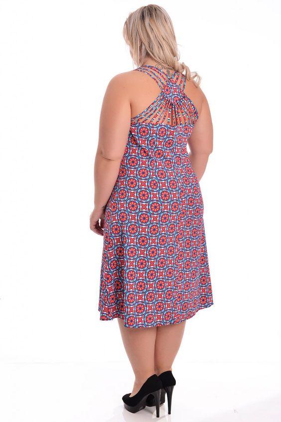 Vestido Porcelana Color - VK Moda Plus Size | Moda Feminina