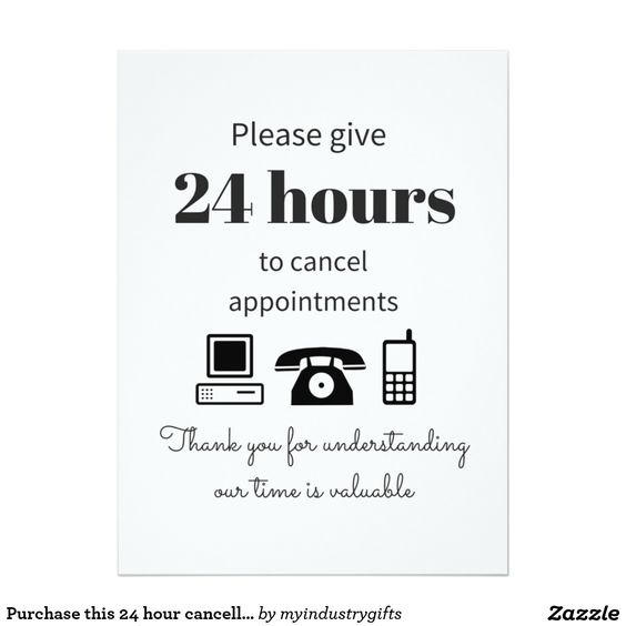 Purchase this 24 hour cancellation policy card Salons, Salon - cancellation policy template