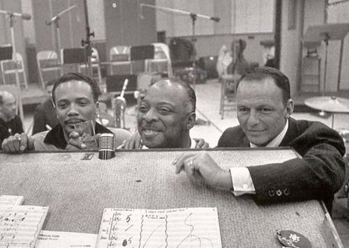 Quincy Jones, Count Basie, and Frank Sinatra in the studio.