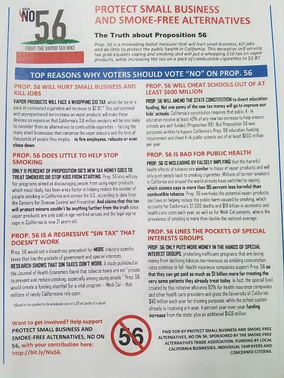 Photo: Things you need to know about prop 56 sorry it's a pic of the paper but zoom in