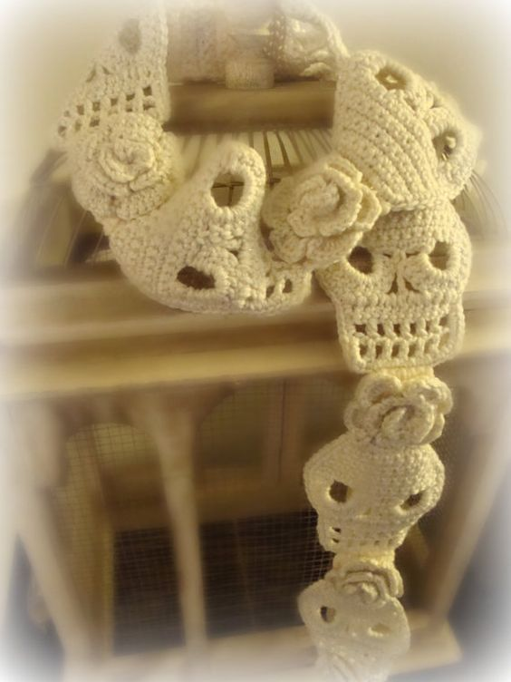 Crochet Skull Scarf Pattern With Roses PDF Pattern Instant ...