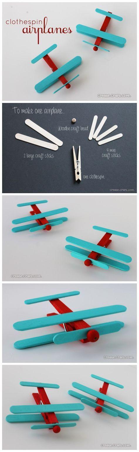 #Diy Clothespin #Airplanes #Tutorials: