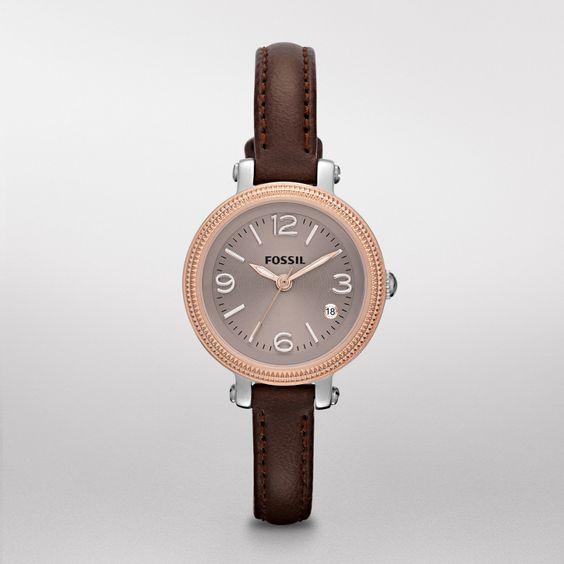 ES3138 - Heather Mini Leather Watch – Dark Brown