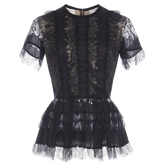 Elie Saab Lace Peplum Top (£1,810) ❤ liked on Polyvore featuring tops, shirts, shirts & tops, lace peplum top, black short sleeve shirt, short sleeve peplum top and short sleeve lace top