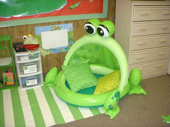 Frog-inspired reading nook.