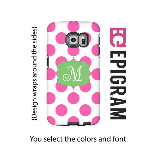 Hey, I found this really awesome Etsy listing at https://www.etsy.com/listing/216465282/monogram-samsung-galaxy-case-pink-polka