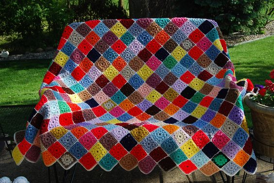 70s Granny Square Afghan. To cover my couch?! :D