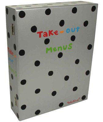 Silver with Black Dots Take Out Menu Box  A place to put take-out menus  all in one organized spot.  $27.95