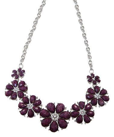 Love this Purple & Silver Daisy Bib Necklace on #zulily! #zulilyfinds