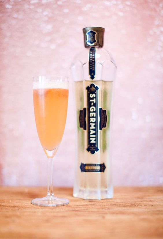 Ingredients:    -Blood Orange Sorbet    -St. Germain    -Champagne    *Place one small scoop of sorbet into a champagne glass, add a tiny splash of St. Germain and fill with champagne. No need to stir! | sbchic.com