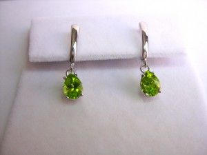 Custom made Peridot dangle earrings in 14K w/g. Order from DKV Jewelry now!