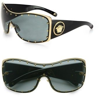 Rock Icon Medusa Studded Shield Sunglasses