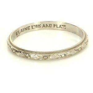Antique Art Deco 18 Karat White Gold Platinum Embossed Flower Wedding Band Ring $395