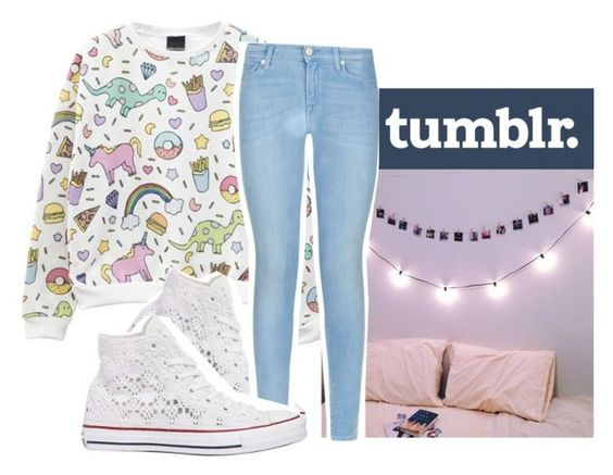 """""""Last one omg  pt 3 of tumblr folk"""" by malaysha-be-lame ❤ liked on Polyvore featuring Converse, 7 For All Mankind, women's clothing, women, female, woman, misses and juniors"""