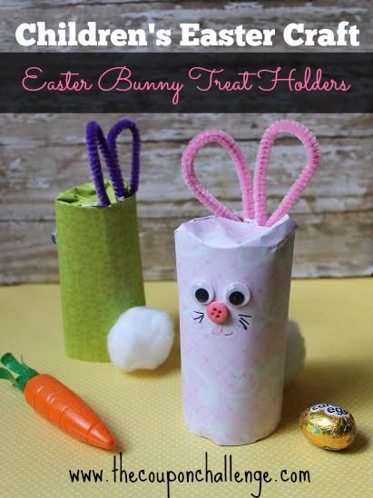 Super cute Childrens Easter Craft Idea.  Try this Toilet Paper Easter Bunny Treat Holders for an extra special treat holder.