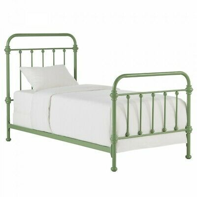 Details About Metal Twin Bed Green Bedframe Headboard Footboard